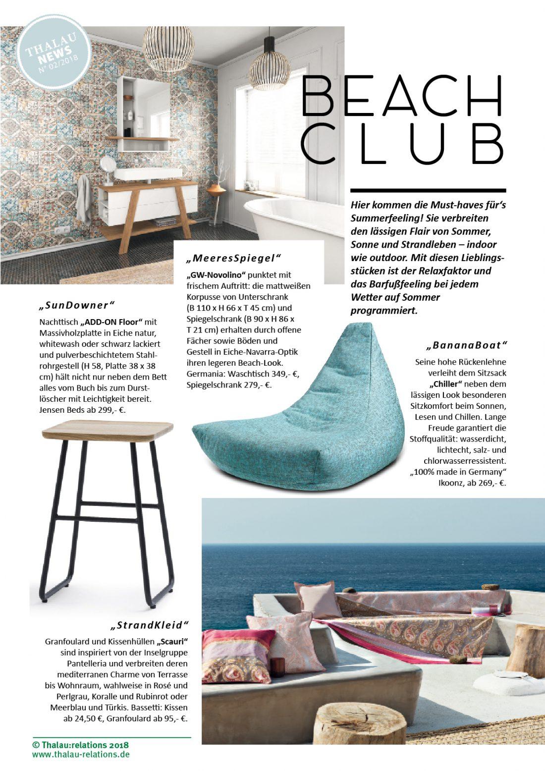 Thalau Newsletter Beach Club März 2018